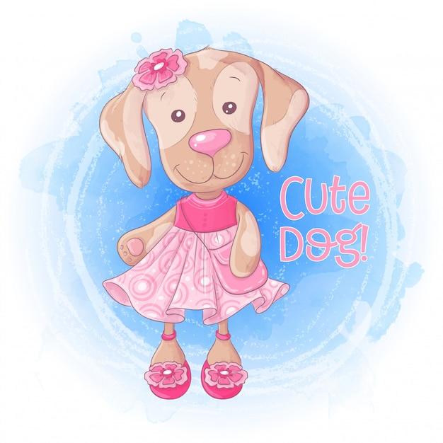 Nettes mädchenhündchen der karikatur mit einer handtasche in einem rosa kleid. Premium Vektoren