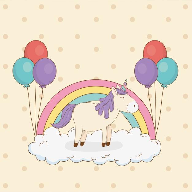Nettes märcheneinhorn mit ballon helium und regenbogen Premium Vektoren
