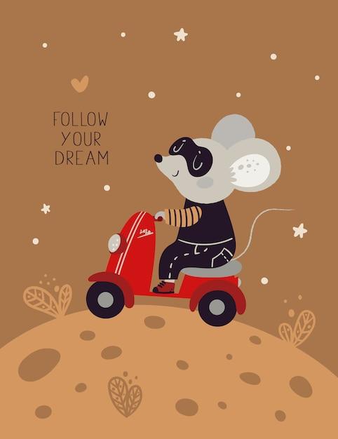 Nettes mäusemäuseratten-fahrmotorrad auf den käsemond. symbol des neuen jahres 2020 Premium Vektoren