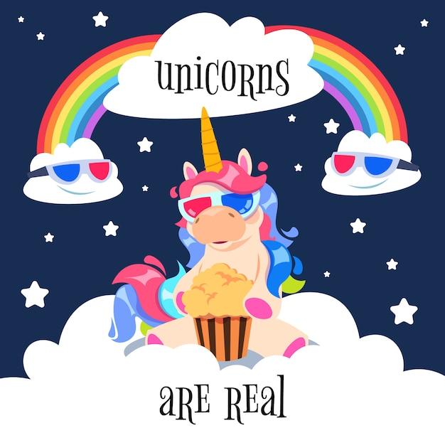 Nettes magisches einhorn mit regenbogen. fantasy pony auf wolken. Premium Vektoren