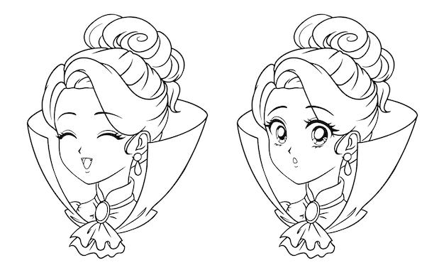 Nettes manga-vampir-mädchenporträt. zwei verschiedene ausdrücke. Premium Vektoren