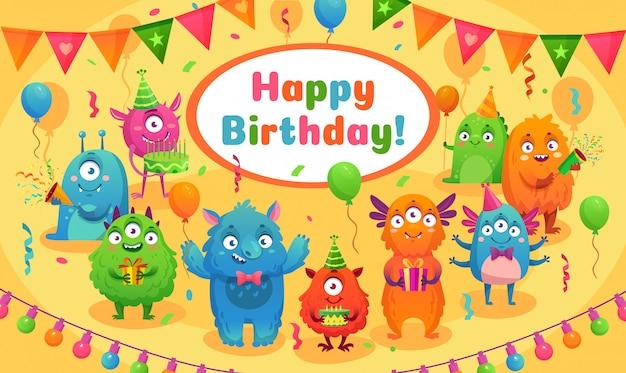 Nettes monstermaskottchen der kindergeburtstagsfeier, monsterjubiläumsgrußkarten-karikaturvektorillustration Premium Vektoren