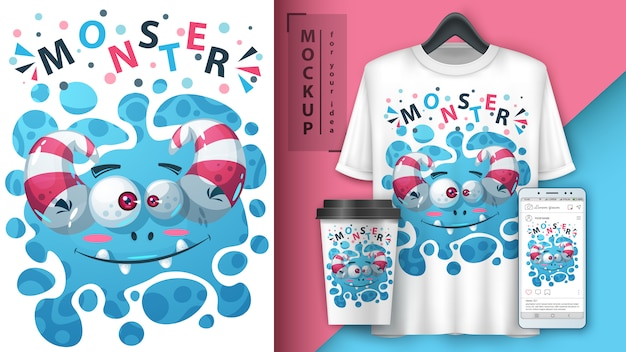 Nettes monsterplakat und merchandising Premium Vektoren