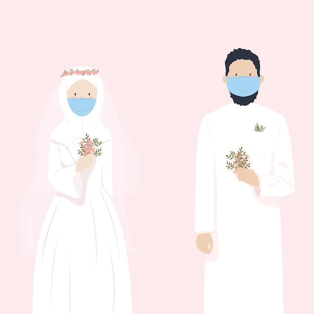 Nettes muslimisches hochzeitspaar, das heiratet, während maske während der pandemie trägt Premium Vektoren