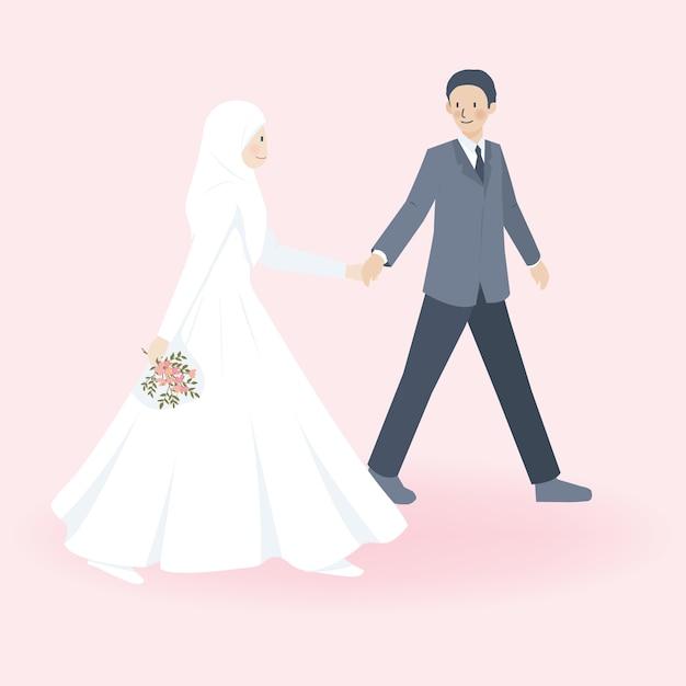 Nettes muslimisches paar im hochzeitskleid und in den hochzeitsanzügen, die zusammen gehen und hand halten Premium Vektoren