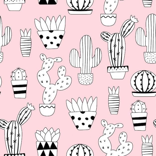 Nettes nahtloses kaktusmuster Premium Vektoren