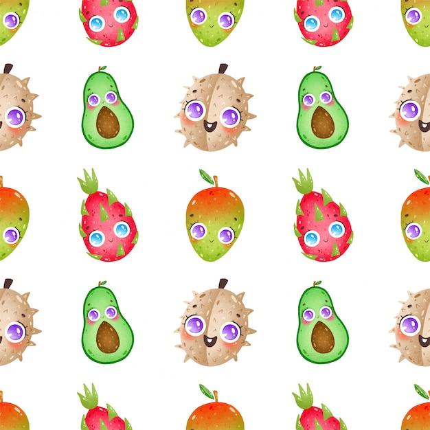 Nettes nahtloses muster der karikaturfrüchte auf einem weißen hintergrund. durian, avocado, drachenfrucht, mango Premium Vektoren