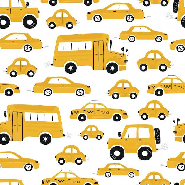 Nettes nahtloses muster der kinder mit gelben autos und bus. illustration einer stadt im karikaturstil. vektor Premium Vektoren