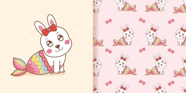 Nettes nahtloses muster der meerjungfrau des kaninchens mit rosa hintergrund. Premium Vektoren