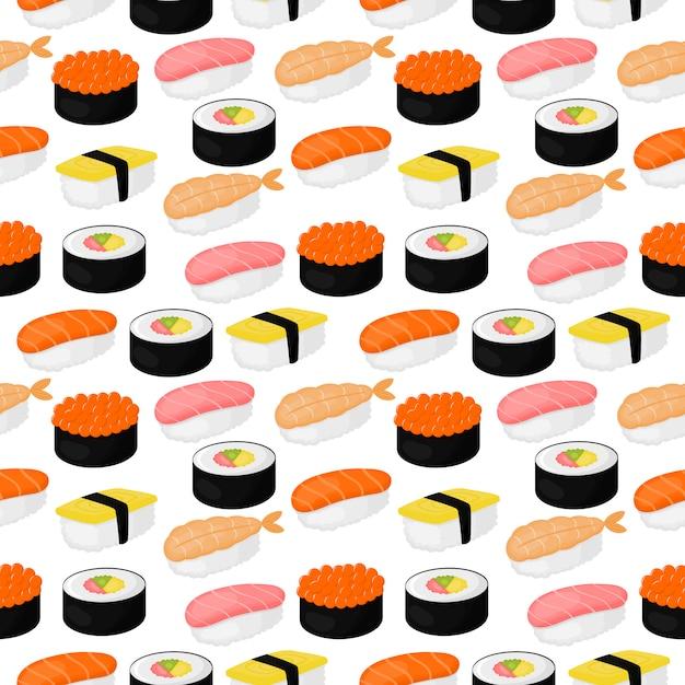 Nettes nahtloses muster der sushi und der rollen. japanisches essen Premium Vektoren