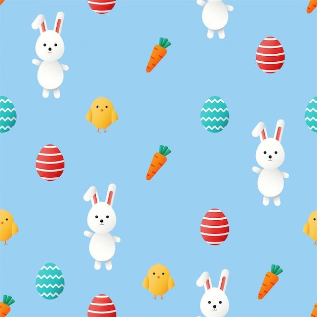 Nettes nahtloses muster des glücklichen ostertages. hase und karotte. kaninchen isoliert auf blauem hintergrund. Premium Vektoren
