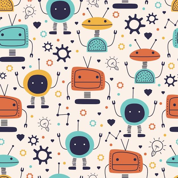 Nettes nahtloses muster mit lustiger zeichnung des kindischen roboters Premium Vektoren