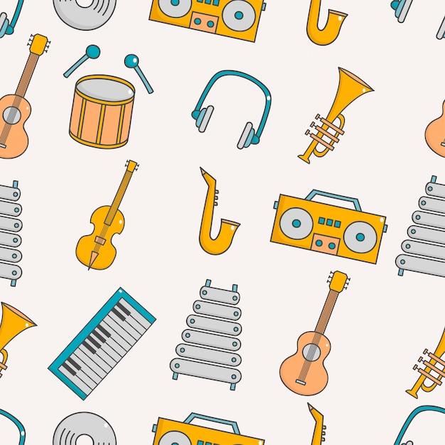Nettes nahtloses muster mit musik Premium Vektoren