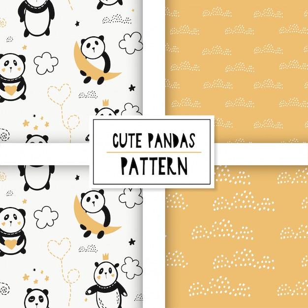 Nettes nahtloses muster mit pandas auf den wolken. Premium Vektoren