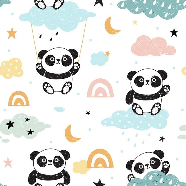 Nettes nahtloses muster mit pandas. Premium Vektoren