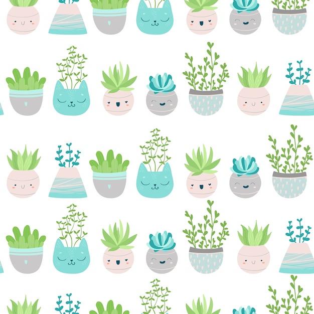 Nettes nahtloses muster mit sukkulenten und kaktus in bunten töpfen. skandinavische illustration in pastellfarben für tapeten, stoffe, textilien, geschenkpapier, scrapbooking usw. Premium Vektoren