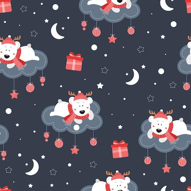 Nettes nahtloses weihnachtsmuster mit bär. netter bär auf einer wolke. sterne, geschenke, schnee, schneeflocken, mütze, schal. Premium Vektoren