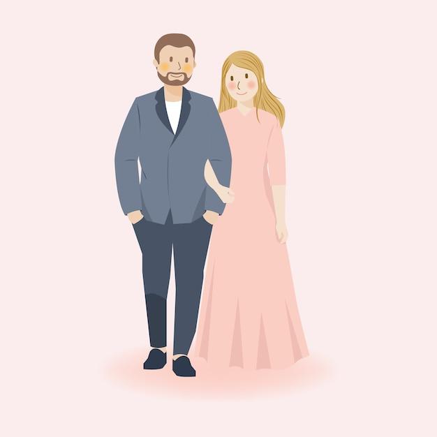 Nettes paar, das hand hält, umarmt, geht und umarmt in lässiger formeller kleidung, romantischer niedlicher paarillustrationscharakter, hochzeitspaar Premium Vektoren