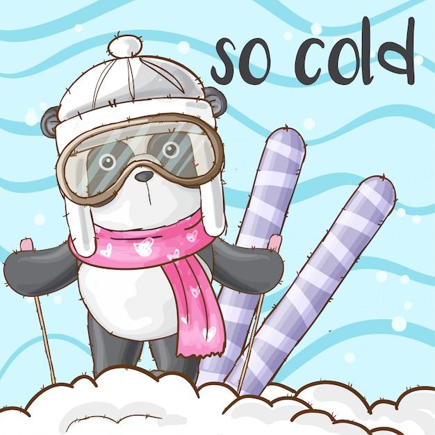 Nettes pandatier auf dem schneevektor Premium Vektoren