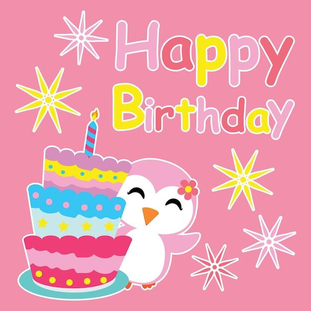Nettes Pinguin Madchen Lachelt Neben Geburtstagstorte Vektor Cartoon