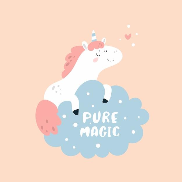 Nettes reizendes kleines ponyeinhorn mit dem herzen, das auf der wolke träumt. pure magie Premium Vektoren
