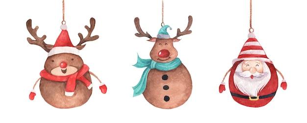 Nettes rentier und weihnachtsmann hängen an schnur. vintage weihnachtsdekoration. aquarell weihnachten Premium Vektoren