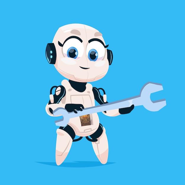 Nettes roboter-griff-schlüssel-robotermädchen lokalisierte ikone auf blauem hintergrund Premium Vektoren