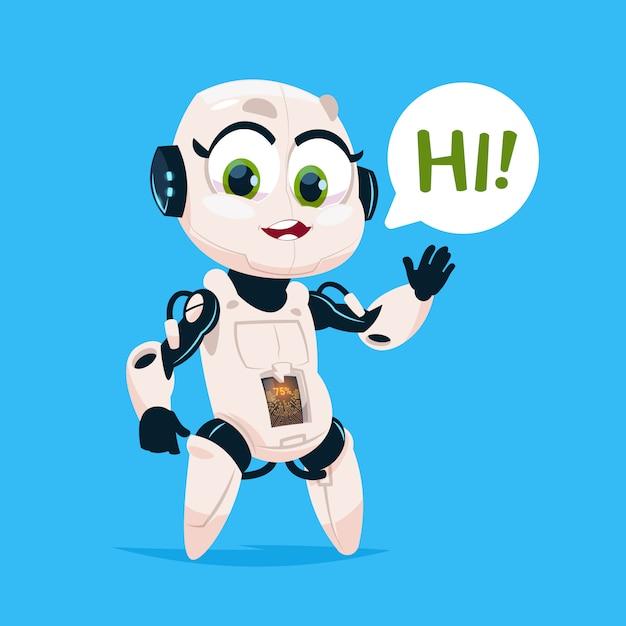 Nettes roboter-mädchen sagen hallo lokalisierte ikone auf blauer hintergrund-moderner technologie-künstlicher intelligenz Premium Vektoren