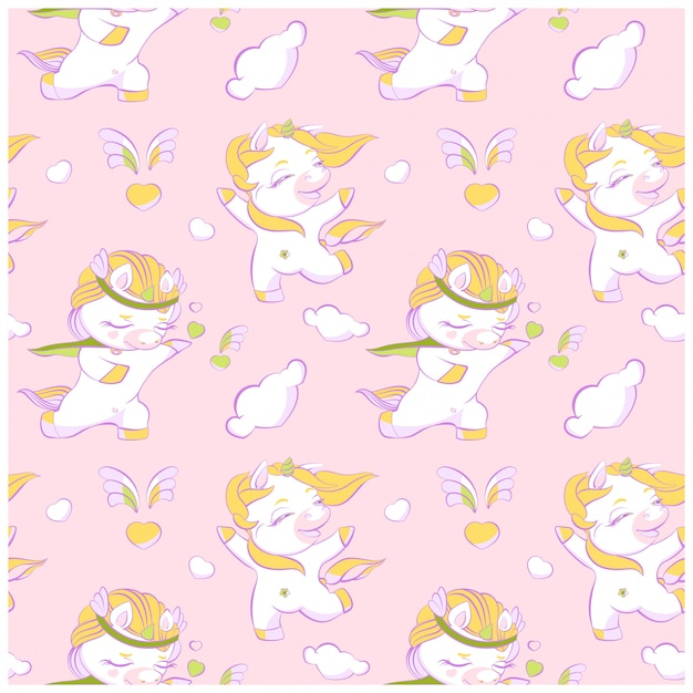 Nettes rosa nahtloses muster der kleinen einhörner rosa Premium Vektoren
