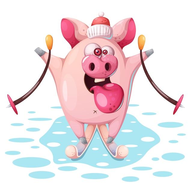 Nettes rosa schwein mit ski Premium Vektoren