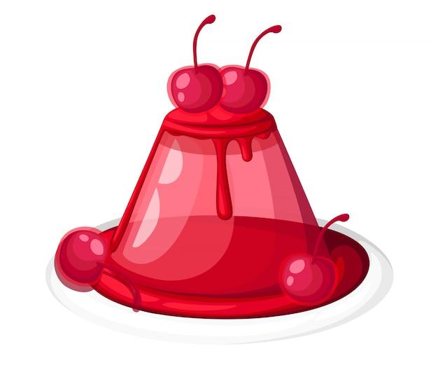 Nettes rotes transparentes kirschgelee auf einem tellerfruchtgelatine-dessert verzierte kirschillustration auf weißer hintergrundwebseite und mobiler app Premium Vektoren