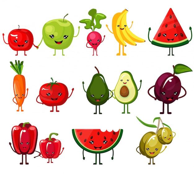 Nettes, schönes, geschmackvolles, geschmackvolles stilvolles set saftiges gemüse und früchte mit den lächelnden gesichtern, hände dort wellenartig bewegend. nützliches und diätetisches essen. Premium Vektoren