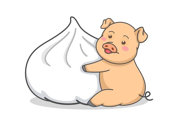 Nettes schwein, das dampfbrötchen umarmt Premium Vektoren