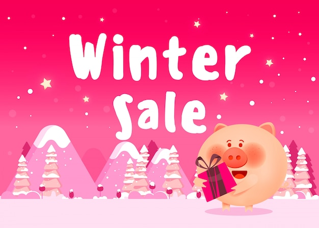 Nettes schwein in der weihnachtskleidung mit geschenken Premium Vektoren