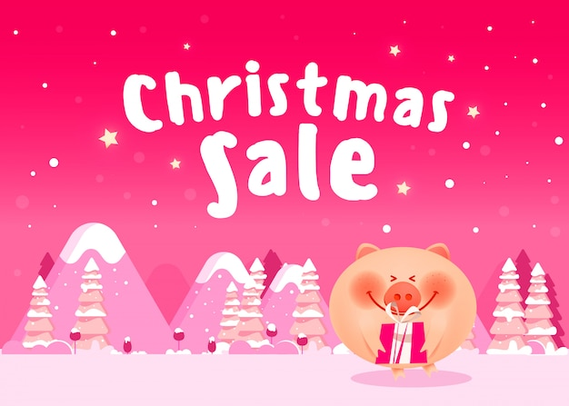 Nettes schwein mit weihnachtsgeschenken weihnachtszusammensetzung Premium Vektoren