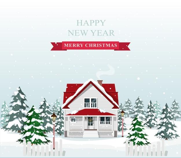 Nettes stilvolles europäisches haus, das für weihnachten verziert wird. frohe weihnachten landschaft. illustration. Premium Vektoren