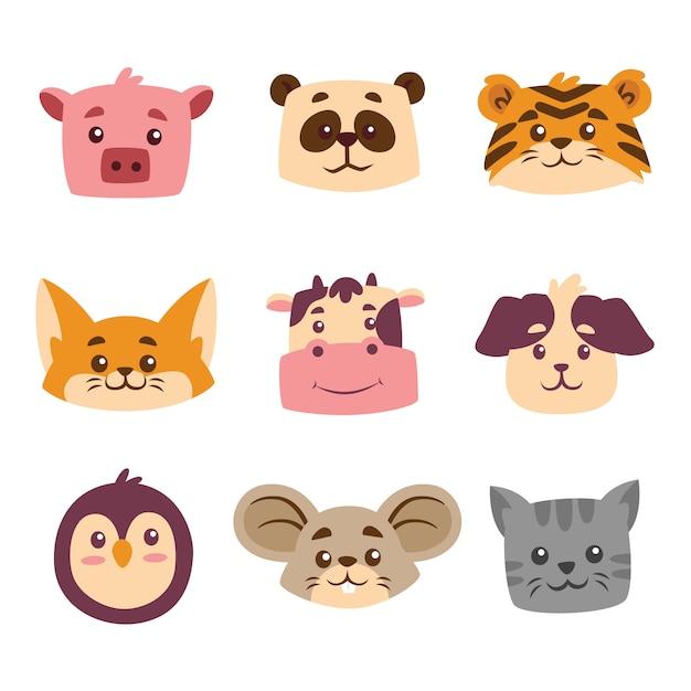 Nettes tier cartoon head collection set Premium Vektoren