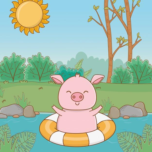 Nettes tier, das sommerferien genießt Kostenlosen Vektoren