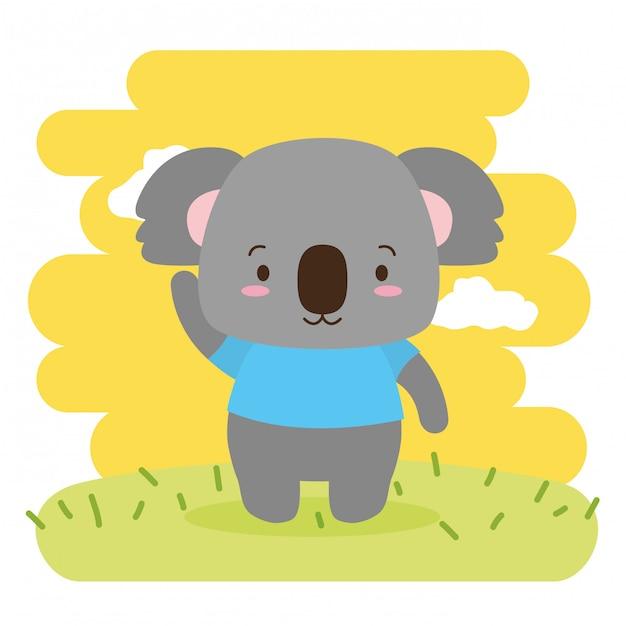 Nettes tier des koala, karikatur und flache art, illustration Kostenlosen Vektoren