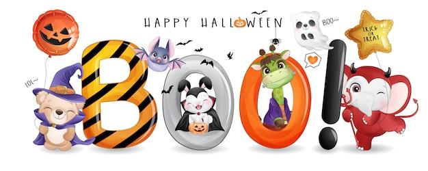 Nettes tier für halloween-tag mit aquarellillustration Premium Vektoren