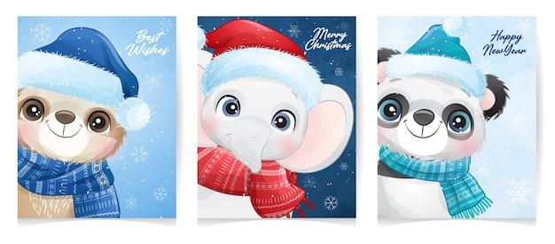 Nettes tier für weihnachten mit aquarellillustration Premium Vektoren