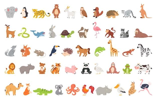 Nettes tier gesetzt mit bauernhof und wildem charakter. katze und löwe, elefant und affe. zoosammlung. Premium Vektoren
