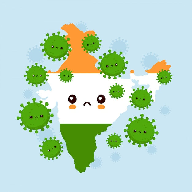 Nettes trauriges indien griff coronavirus-infektion an. flache art cartoon charakter illustration Premium Vektoren