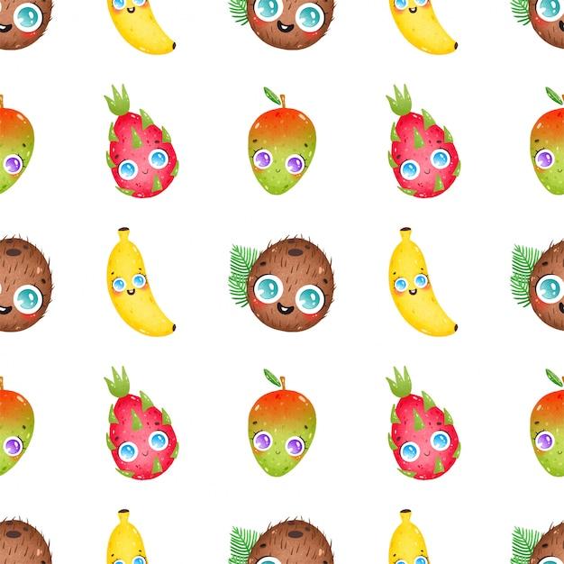 Nettes tropisches frucht nahtloses muster der netten karikatur auf einem weißen hintergrund. kokosnuss, banane, mango, drachenfrucht Premium Vektoren