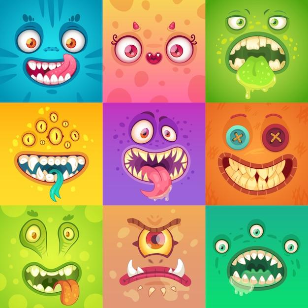 Nettes und beängstigendes monstergesicht mit augen und mund. halloween maskottchen zeichen Premium Vektoren