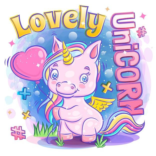 Nettes unicorn-lächeln mit griff-liebes-ballon und gefühls-liebesillustration Premium Vektoren