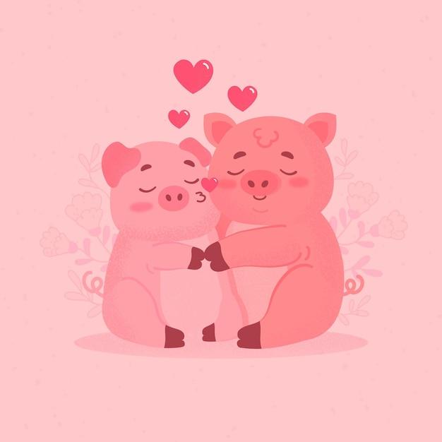 Nettes valentinstagschweinepaar Kostenlosen Vektoren