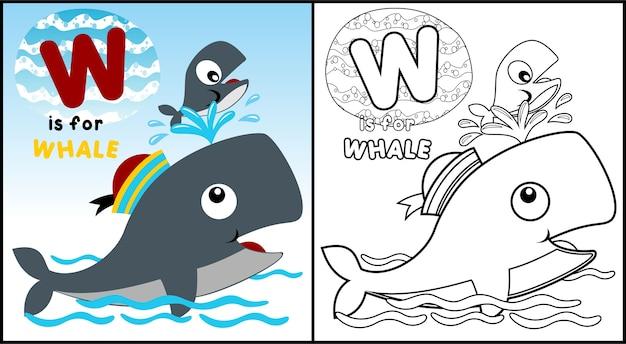 Nettes Walfamilienkarikatur-Malbuch oder -seite | Download der ...