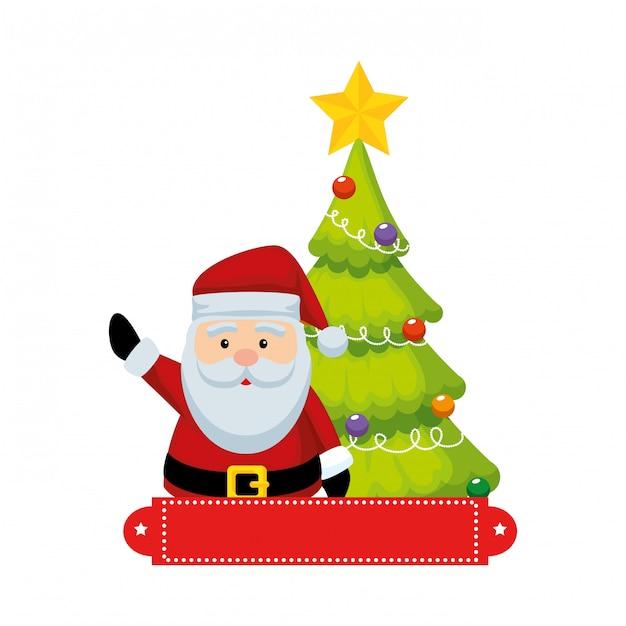 Nettes weihnachten weihnachtsmann mit kiefer Premium Vektoren