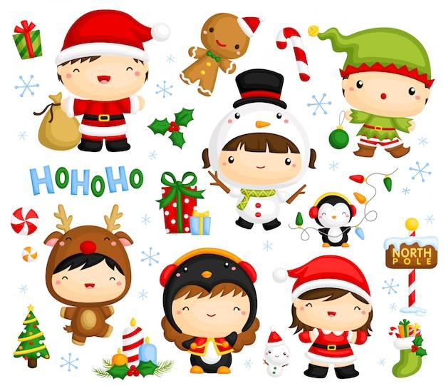 Nettes weihnachtskindervektorset Premium Vektoren